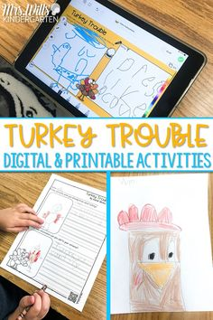 Digital & Printable activities for a favorite November story, Turkey Trouble! These resources are great for kindergarten and 1st grade and perfect for distance learning!