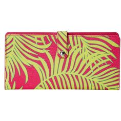 Vera Bradley Slim Travel Organizer (Palm Fronds) Wallet ($31) ❤ liked on Polyvore featuring bags, yellow, snap bag, travels bags, travel bag, vera bradley and vera bradley bags