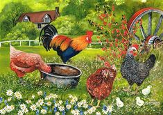 ©Val Stokes - First Outing Chicken Art, Chicken Painting, Rooster Art, Decoupage, Farm Art, Galo, Coq, Whimsical Art, Farm Animals