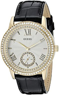 GUESS Womens U0642L2  Elegant Black  GoldTome Watch with Genuine Crystals >>> Read more reviews of the product by visiting the link on the image.