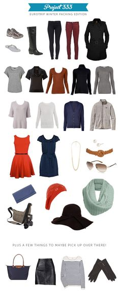 Eurotrip winter packing list/ good guideline ⓢ travel style Winter Travel Packing, Travel Capsule, Packing List For Travel, Packing Tips, Capsule Outfits, Capsule Wardrobe, Eurotrip, Travel Wardrobe, Travel Style