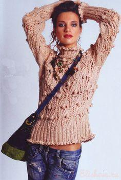 Бежевый свитер ажурный с шишечками вязаный спицами и крючком   Блог elisheva.ru