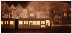 Train Art Cute Couple San Francisco Muni Gift for Couple by nidhi, $32.00  I purchased one for my home and it is even better in real life. Get one via Etsy or at Urban Bazaar in the Inner Funset!