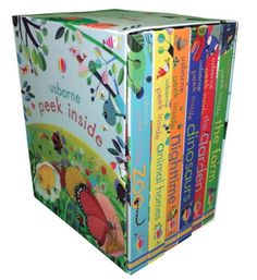 This peek inside gift set includes six beautifully illustrated lift-the-flap books. Little children will love peeking under the flaps and through the holes in the pages to discover what goes on at the zoo, in animal homes, on the farm, in the garden, at night, and inside the world of dinosaurs.