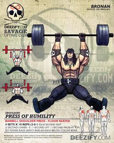 shoulder exercise: shoulder press floor seated - bronan Hero Workouts, Weight Training Workouts, Gym Tips, Gym Workout Tips, Muscle Fitness, Fitness Goals, Beast Workout, Superhero Workout, Workout Posters