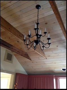 Cedar boards on ceiling