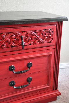 Mesmerizing Distressed Dresser For Home Furniture Ideas: Red Distressed Dresser With Drawers And Black Handle For Home Furniture Ideas
