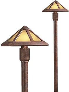 Kichler 15450 1-Lt 12V Mission Style Path & Spread Light  15450TZT	Textured Tannery Bronze	$92.40  A mission style roof combined with glass designed to replicate the umber glow of mica for a warm comfortable exterior look. Art Deco and Mission Style Path Lights and Landscape Lighting - Low Voltage, Line Voltage and LED - Brand Lighting Discount Lighting - Call Brand Lighting Sales 800-585-1285 to ask for your best price!