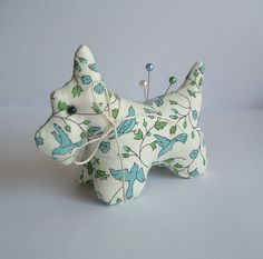 Calico Scottie Dog Pincushion Made with by BluebirdMountain, $17.50