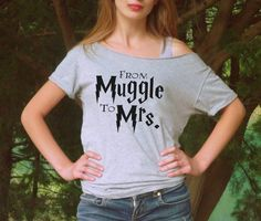 Harry potter shirt From muggle to mrs womens T-shirt. Great Gift for Bride, Bridesmaid, Fiance, Wedding, Engagement.  Cool off the shoulder cropped neckline loose style.