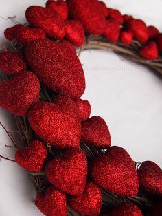 Heart Wreath Valentine's Day Decor Glittery Red by BubbleGumDish, $85.00