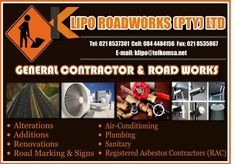General Contractor and road works  Tel: 021 8537301 Cell: 084 4484156 Fax: 021 8535867 Email: klipo@telkomsa.net Road Markings, Plumbing, It Works, Conditioner, Signs, Shop Signs, Nailed It, Sign