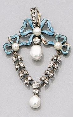 An Edwardian Enamel Pearl and Diamond Pendant, circa 1915.