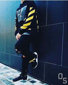 Instagram media by outfitsociety - #OutfitSociety via @cultureandvibes Presents @enricochandra yellow life: Off White Hoodie Mnml Jeans and Adidas NMD Boost x Pharrell