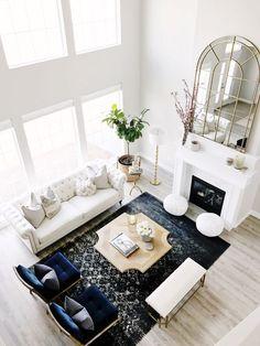 White living room decor | Vaulted ceilings living room