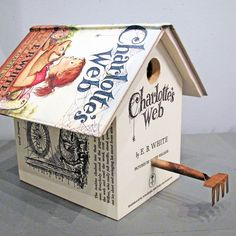 Made from discarded library books and other salvaged finds, these repurposed birdhouses are the ultimate in upcycling. David Vissat, the man behind Wild Wings Literary Lodgings, designs these delightful birdhouses using pages from the hardcover books to decorate the outside, the books themselves as roofs, and carefully selected corresponding perches as the perfect finishing touch.