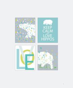 Hippo Nursery Decor Hippo Print Set 4 Hippopotamus Home Decor Keep Calm and Love Hippos Wall Art Decoration Wall Artwork Illustration Cute. $45.00, via Etsy.