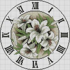 Mille schemi a punto croce gratuiti per tutti: Schema punto croce: orologio con i gigli