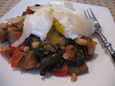 Eggplant, Kale and Cannellini Bean sort-of-Ratatouille with Poached Eggs