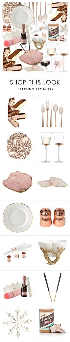"""""""pink & rose gold"""" by cutandpaste ❤ liked on Polyvore featuring interior, interiors, interior design, home, home decor, interior decorating, Kate Spade, Chilewich, LSA International and Anna New York"""