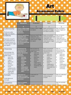 ELEMENTARY ART RUBRIC - TeachersPayTeachers.com