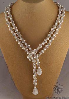 White pearl lariat with bells by ~Fleur-de-Irk on deviantART - Pearl Jewelry Bead Jewellery, Pearl Jewelry, Wedding Jewelry, Beaded Jewelry, Jewelery, Jewelry Necklaces, Handmade Jewelry, Long Necklaces, Glass Jewelry