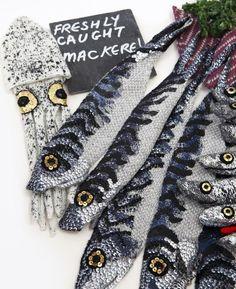 Inspiration from Kate Jenkins Crochet Food, Crochet Art, Crochet Taxidermy, Knit Art, Food Patterns, Knitted Animals, Wool Applique, Yarn Crafts, Dressmaking