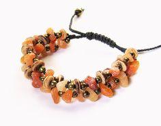 Boho Bracelet - 3 strand, red aventurine chips, coconut shell, brass beads, black hemp - hemp bracelet, boho jewelry, macrame bracelet - Liminal Horizons - liminalhorizons