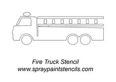 Fire truck stencil... you could print this and have the kids color their own trucks!