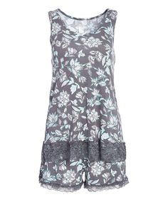 Take a look at this kathy ireland Charcoal & White Floral Tank & Shorts Pajama Set - Plus Too today!