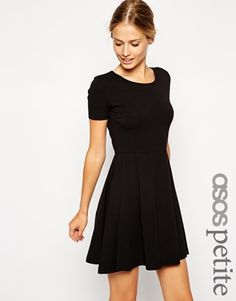 ASOS PETITE Skater Dress with Seam Detail and Short Sleeves In green too