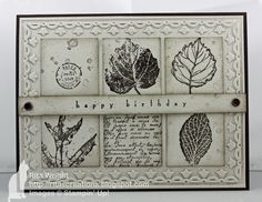 Ritas Creations: Just Add Kathy! T love this black and white look! It actually uses Early Espresso. Paper is Early Espresso and Naturals white. Stamps: Gently Falling(R), All Holidays (R), French Foliage 1 3/8 square punch, vintage trinkets