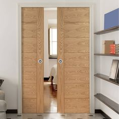 Double Pocket Palermo Oak Door With Panel Effect   Prefinished.  #pocketdoors #oakpocktdoors #
