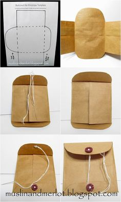 Buttoned Up Envelopes - Using the needle and embroidery floss, sew the buttons onto the top and bottom flaps of the envelope. After you've attached the upper button, cut the needle away from the embroidery floss, leaving a long tail to wind around the buttons. Knot the floss.