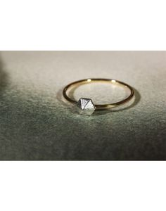 Matte Silver & 9ct Gold Hexagon Ring - Laura Lee Jewellery - 1
