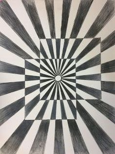 I love Op Art and I thought it would be the perfect lesson to teach Art 1s how to use colored pencils. We began by discussing Op Art, M.C. Escher, Victor Vasarely, and Bridget Riley. Then we discu
