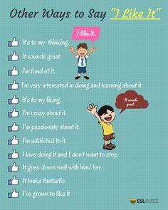 I love it. I like it. I don't like it. I hate it. English Sentences, English Idioms, English Phrases, Learn English Words, English Study, English Lessons, English Grammar, English Learning Spoken, English Language Learning