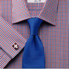 Red and royal gingham check slim fit shirt   Mens dress shirts from Charles Tyrwhitt   CTShirts.com