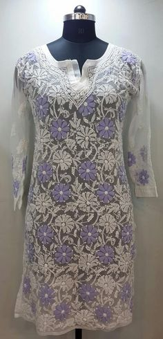 Lucknow Chikan Online allover Kurti White Faux Georgette with very fine murri, shadow & kangan work on both front & back with designer neckline  $41