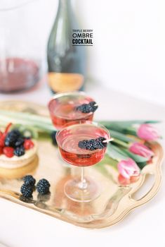 Triple Berry Ombre Cocktail Read More: https://www.stylemepretty.com/living/2014/04/30/triple-berry-ombre-cocktail/