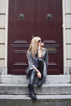 From paris with love collection via www.my-jewellery.com / #ootd #outfit #leathertrousers #chanel #chanelboots #blonde #fringe #myjewellery