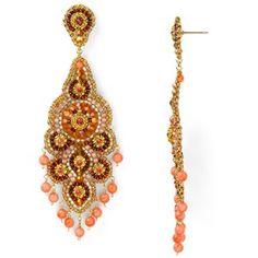 Miguel Ases Swarovski Pink Coral Chandelier Earrings