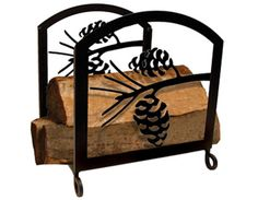 Show your style with this wonderful, rustic wood rack for your fireplace. Features a silhouette of a pinecone on both sides.