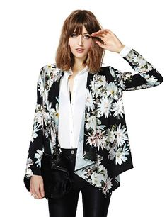 Black Long Sleeve Floral Print Asymmetric Blazer - Fashion Clothing, Latest Street Fashion At Abaday.com