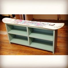 My snowboard bench made from my old board for my new build/repurpose project in furniture class #interior-design, absolutely love it!