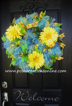 Spring Mesh Wreath Daisy Wreath Summer Wreath by poshcreationsKY, $75.00