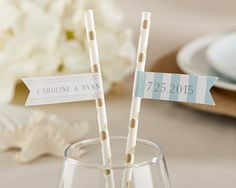 Personalized Party Straw Flags - Beach