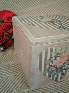 wooden box with decoupaged hearts, Valentine's Day Wooden Gift Box theboondocksblog.com