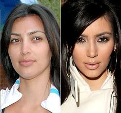 Reality Check!...so glad to see that even celebs like Kim Kardashian don't look quite so fabulous without their makeup