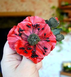 brooch  leather red poppy flower ,brooch Art handmade, large brooch. Ready to Ship!